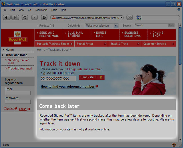 Royal Mail Tracking Number First  Letters Jk