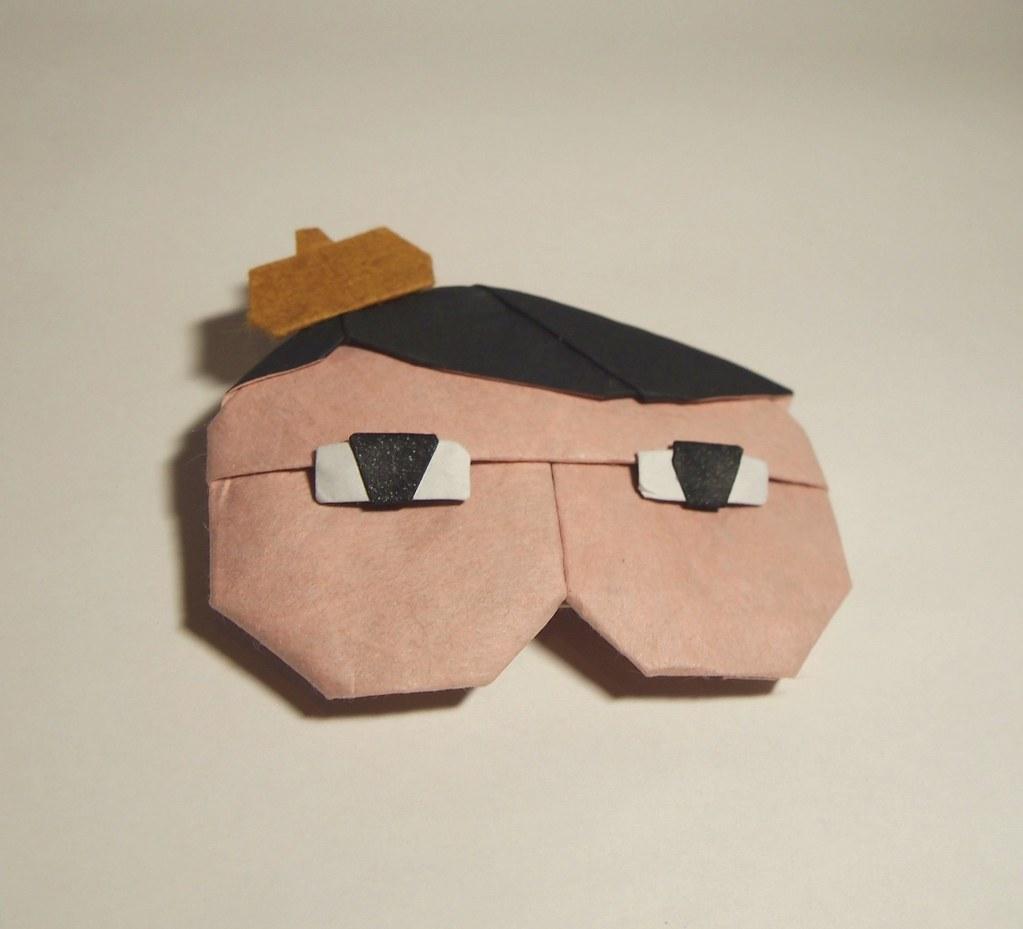 【折り紙作品】おしりたんていの折り紙 展開図創作・一匹柴犬展開図公開。4枚複合作品。目と帽子は、顔の1/5程度のサイズの