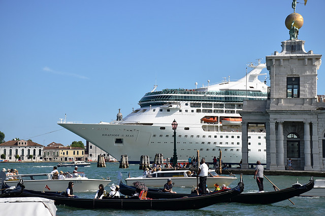 The cruise ship on the canal, Venice