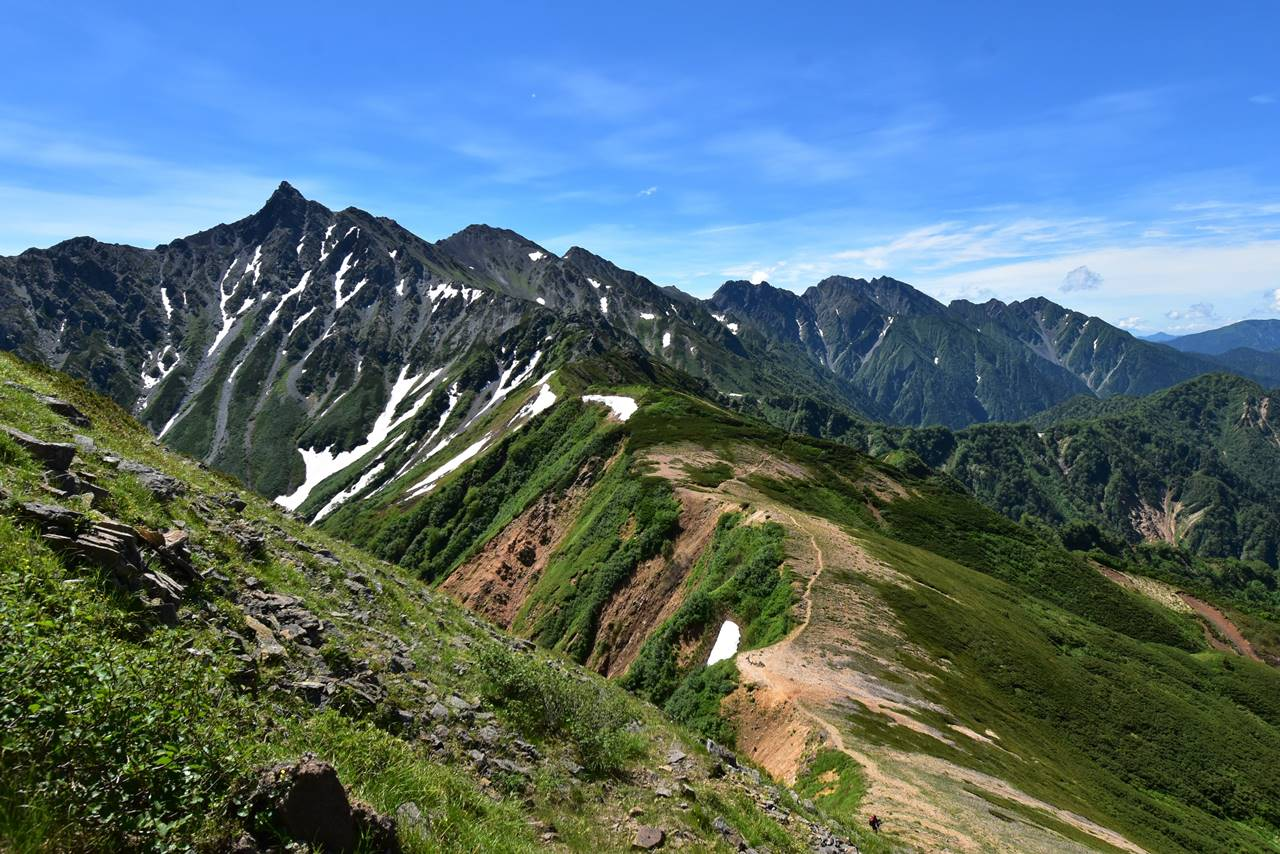 西鎌尾根から眺める槍ヶ岳の稜線