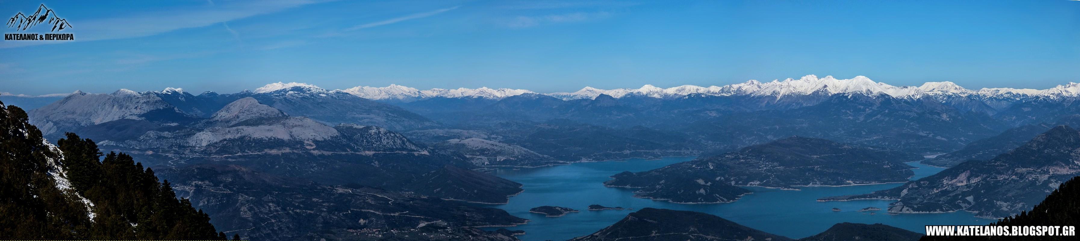 πανοραμα λιμνη κρεμαστων πανοραμικη φωτογραφια βουνα αγραφα τζουμερκα χιονισμενα