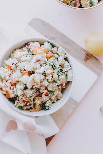 Vegan Mediterranean Salad with Quinoa Salad Dressing | by Get Kamfortable
