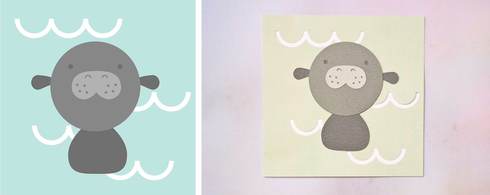 manatee illustration and papercut