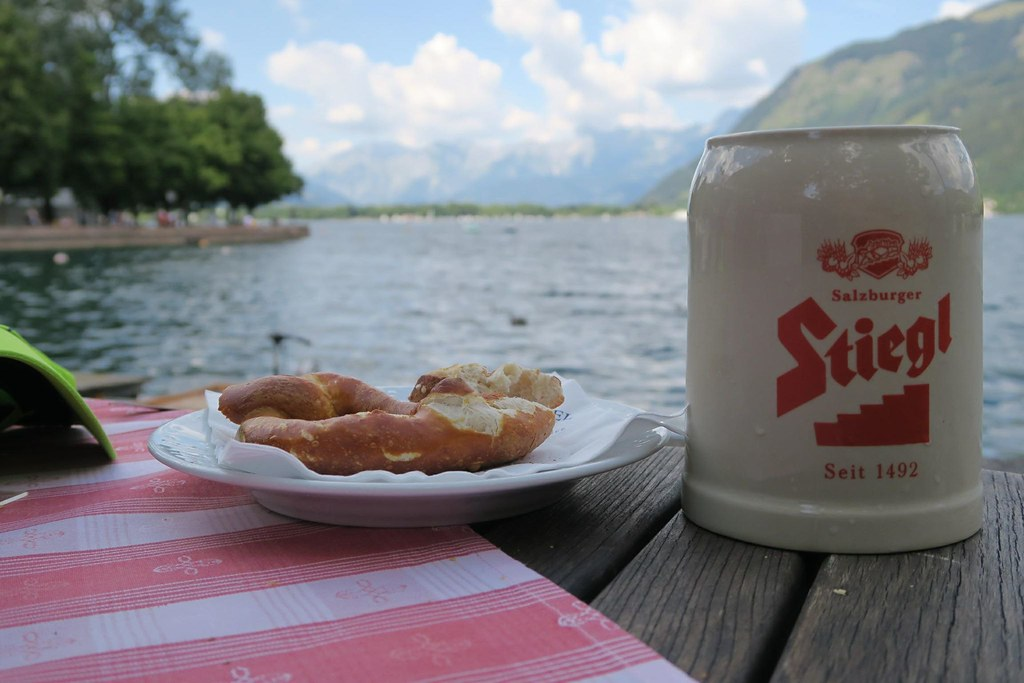 Stiegl beer and pretzel besides Zell am See! Because running is not only about running!!!