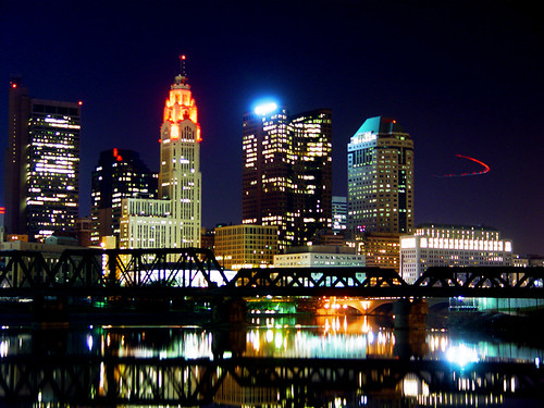 Downtown Columbus Skyline At Night Classic Good Luck