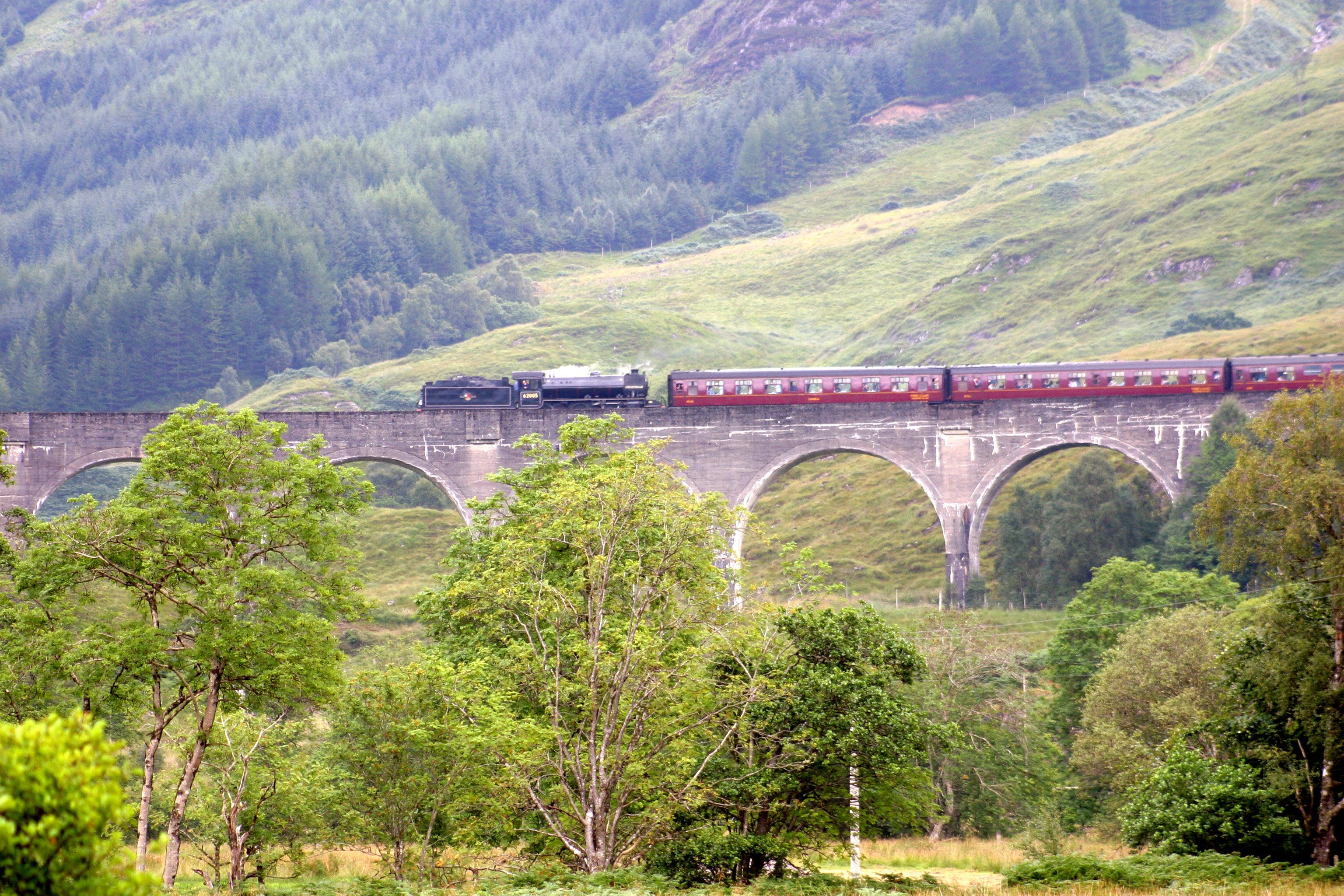 Train across Glenfinnan Viaduct