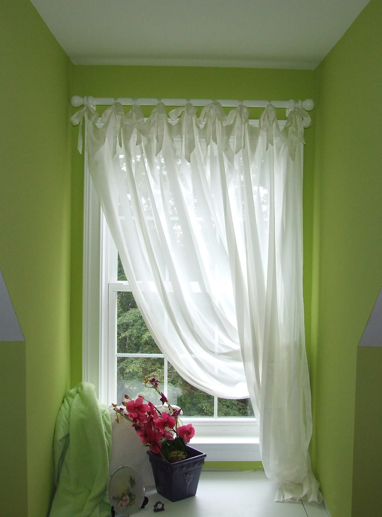 Ribbon Tie Tab Curtains For Pat Made From A White Satin