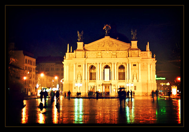 Lviv Opera on a rainy evening