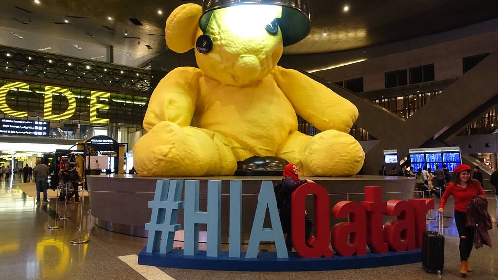 Image result for teddy bear doha airport
