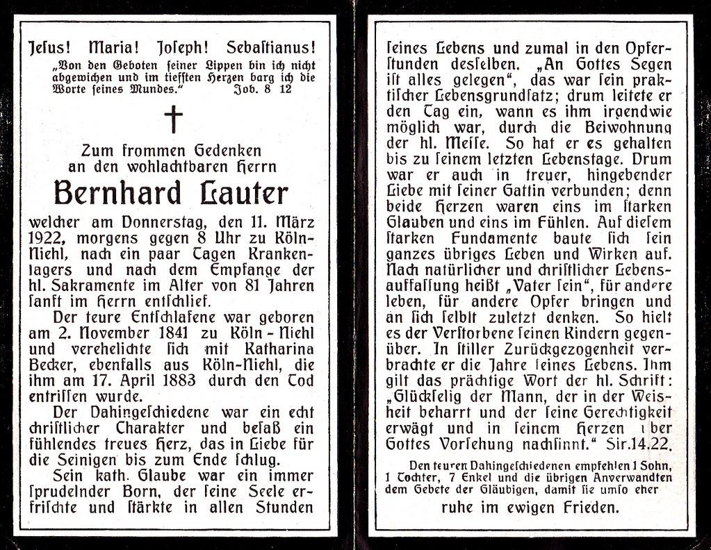 Totenzettel Lauter, Bernhard † 11.03.1922