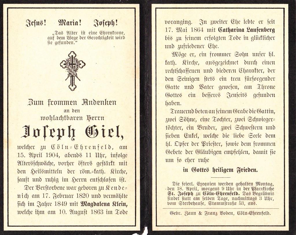 Totenzettel Giel, Joseph † 15.04.1904