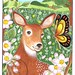 Deer with butterfly (1) and apple blossoms in the countryside