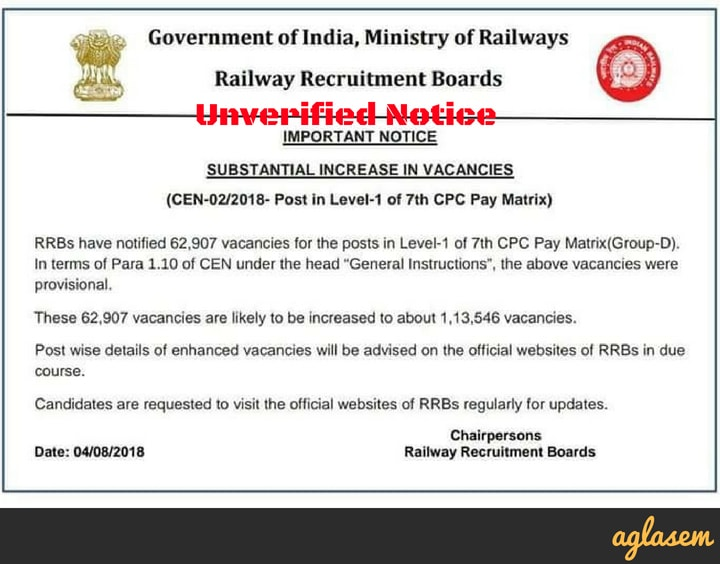 RRB Group D Vacancy Increase To 1,13,546? Find Out The Truth Here