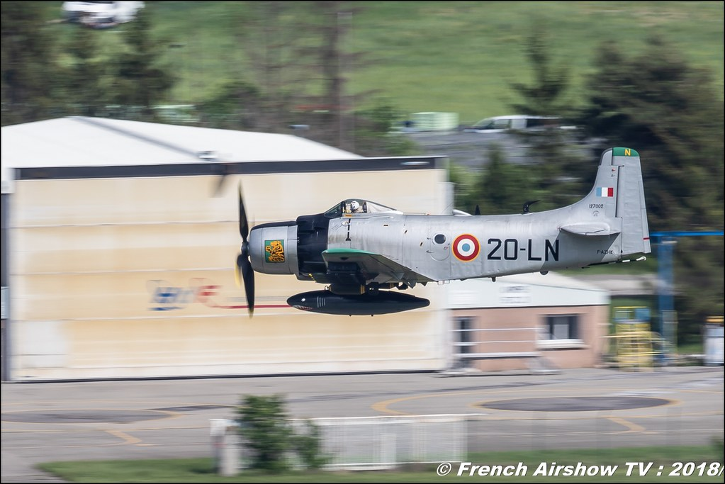 Douglas AD-4N Skyraider - F-AZHK - 20-LN , Meeting Aérien Gap-Tallard 12 mai 2018 - Alpes-Envol , Association AGATHA Canon EOS , Sigma France , contemporary lens , Meeting Aerien 2018