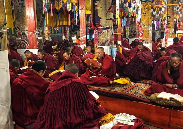 Lectura de los monjes del monasterio Ganden (Tíbet)