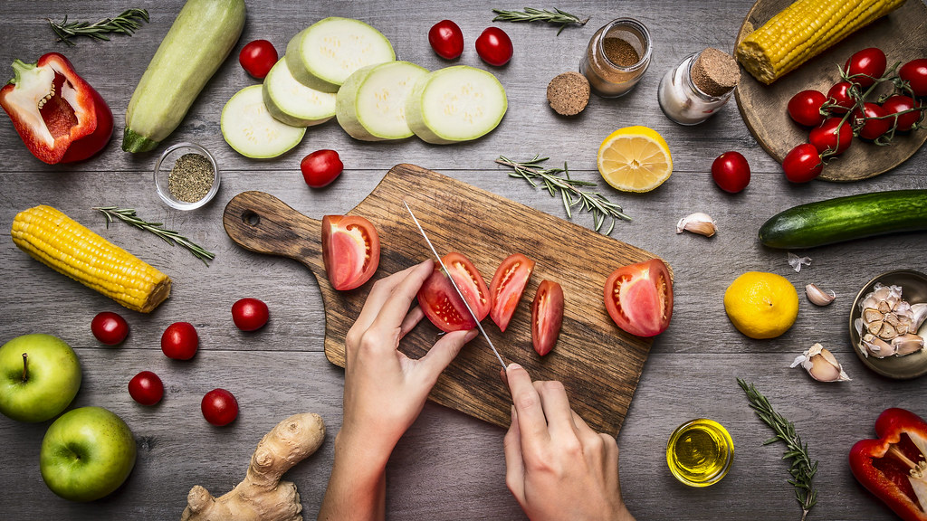 chopping board with fruits and vegetables