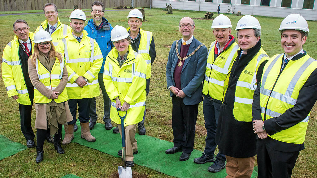 The Mayor of Bath, Dr Jonathan Milner and the Vice-Chancellor join members of the project team to mark the start of building on our brand new Milner Centre for Evolution.