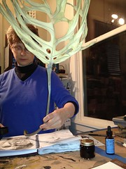 2013 Drawing a self-portrait using a Philodendron Leaf Dipped in Ink by Julia L. Kay
