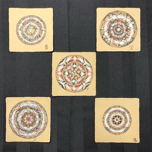 "Such gorgeous Zenbuttons from Saturday's ""Beyond Basics: Reticula and Fragments"" class in Windsor, Ontario. #zentangle #tangle #tangling #czt #laurelstoreyczt #art #classes #artclass #artclasses #draw #drawing #windsor #ontario #yqg #zenbutton #zenbuttons 
