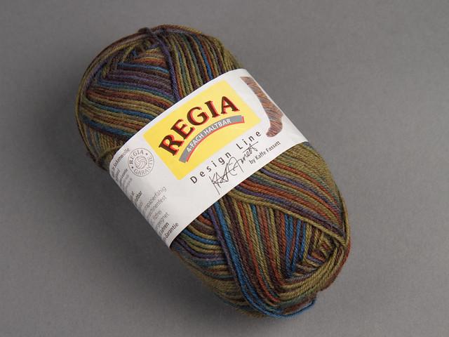 Destash yarn: Regia Design Line Kaffe Fassett wool blend sock yarn 50g – 4254 (khaki green, purple, brown)