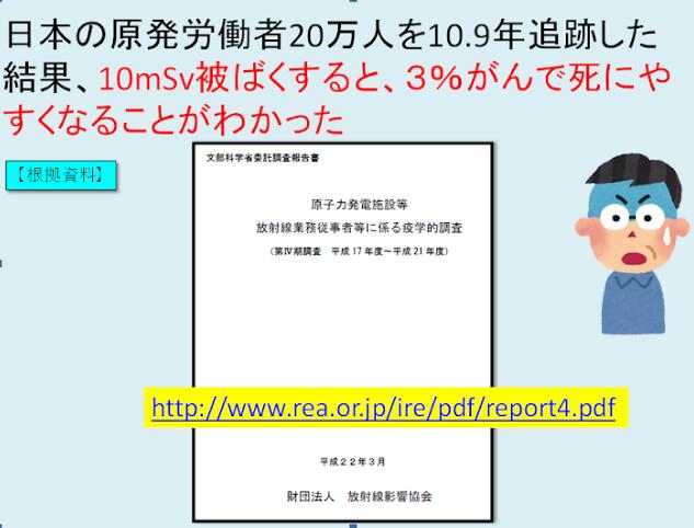 日本政府在2010年發表的核電工被曝研究。