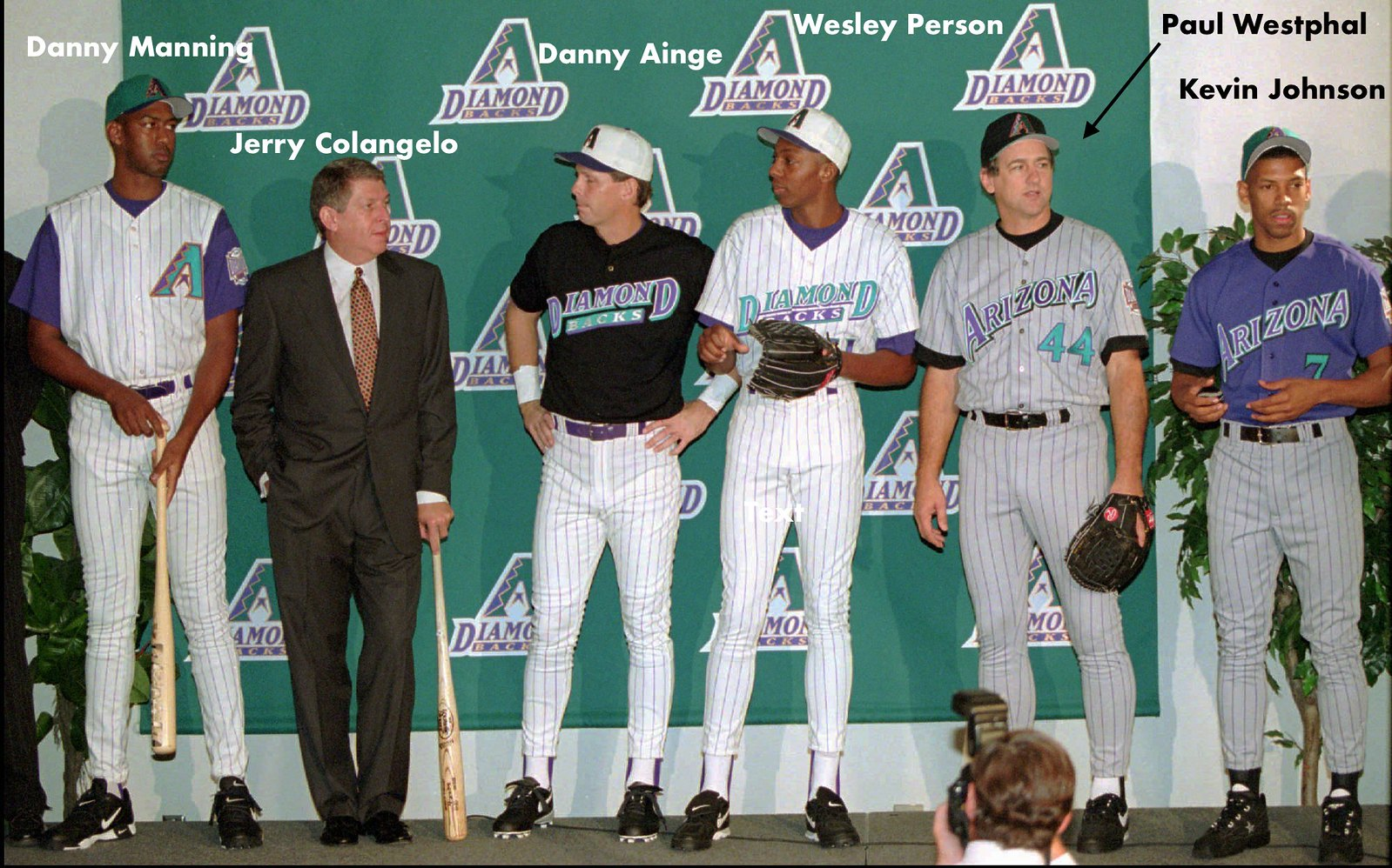 4e28bdd81 ... uniform models -- presumably the first time NBA personnel had  participated in an MLB uni unveiling.