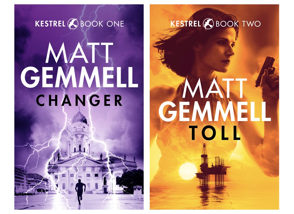 KESTREL book covers for CHANGER and TOLL