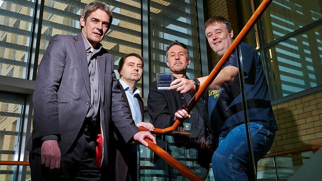 From left: Dr Robert Williams, Professor Stephen Ward, Dr Jean van den Elsen and Professor Tony James