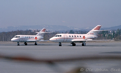 Air Express Falcon 20s LN-AAC and LN-AAA at FBU 27-04-1986 | by Ole Johan Beck