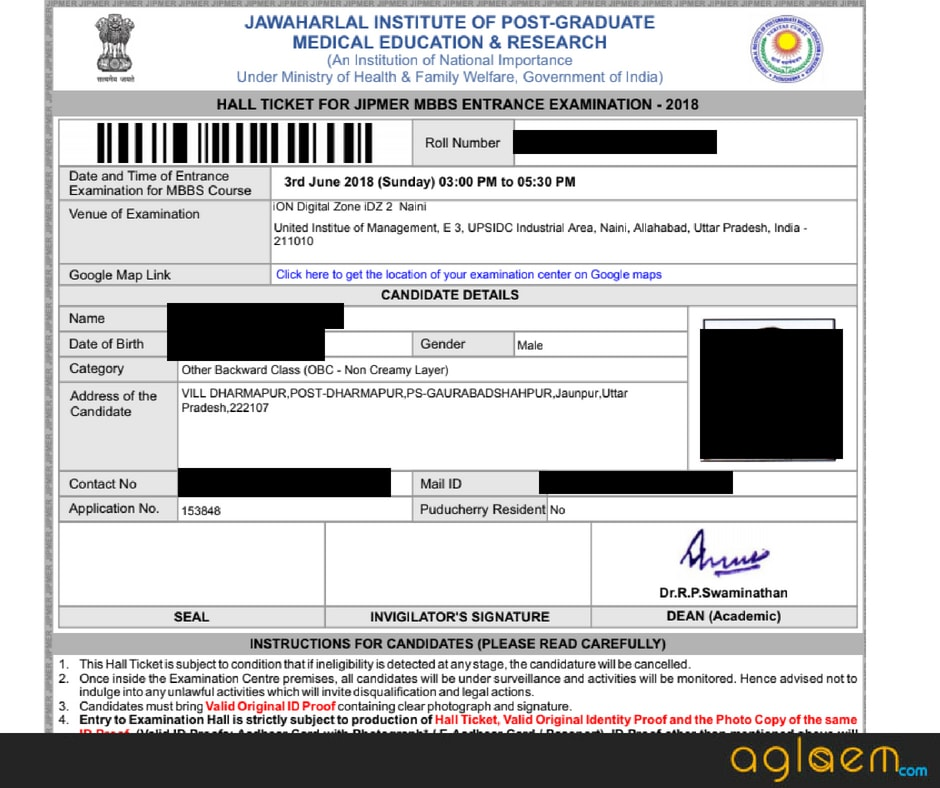 JIPMER 2018 Admit Card / Hall Ticket: Date   21 May, Download Here