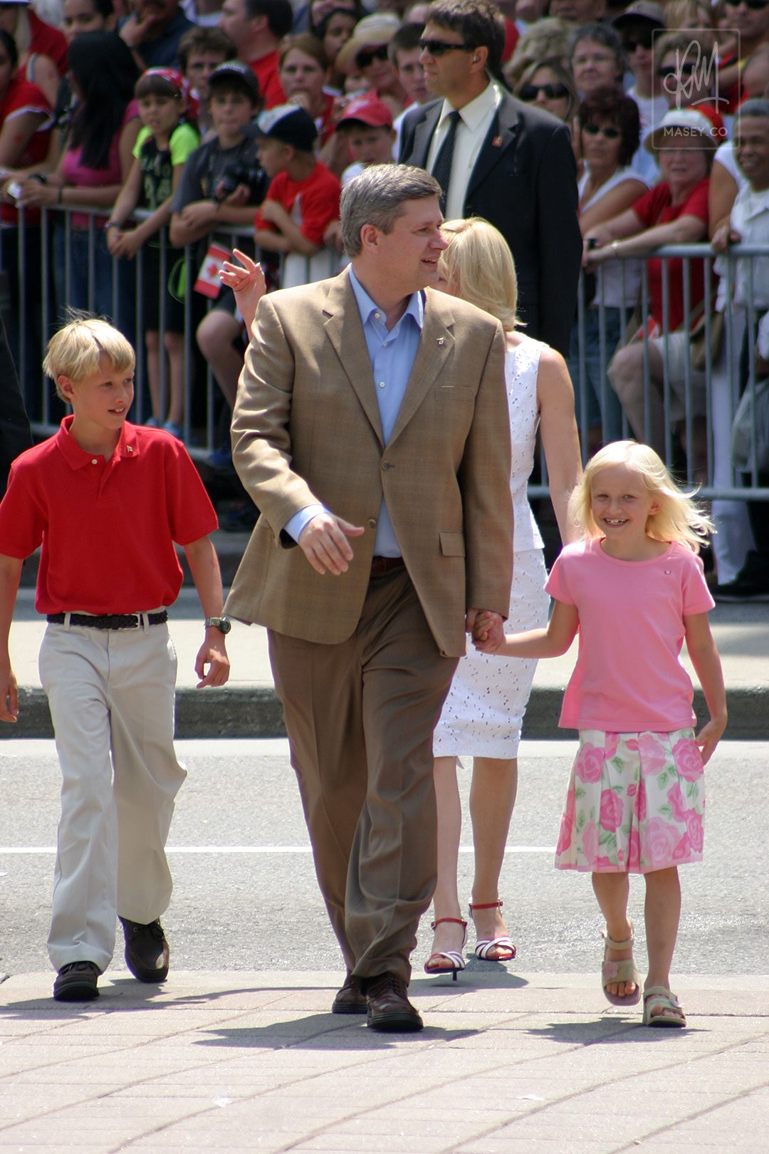 Prime Minister Harper and his family stepping out