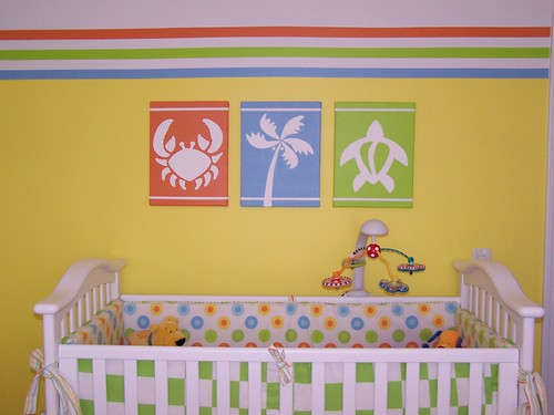 Baby nursery crib and tropical paintings paintings by - Decoracion interiores infantil ...