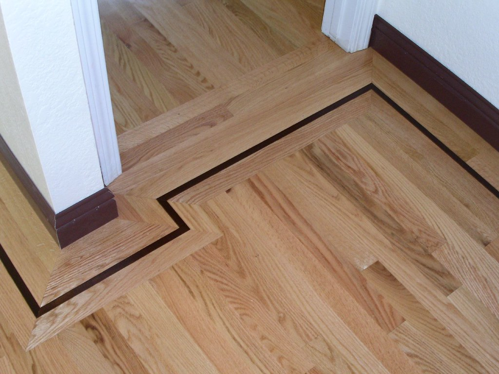 Red Oak Hardwood Floor Walnut Border Inlay Thibodeau