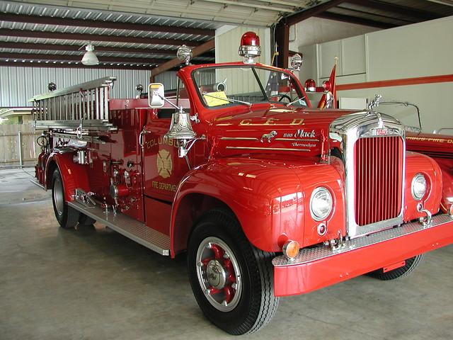 Old Mack Fire Trucks : Vintage mack fire truck columbus tx flickr photo