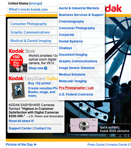 Kodak US website flyout | by s2art