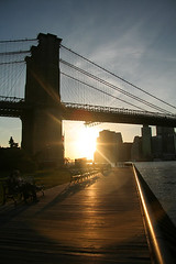 Sunset under the Brooklyn Bridge | by vermilionink