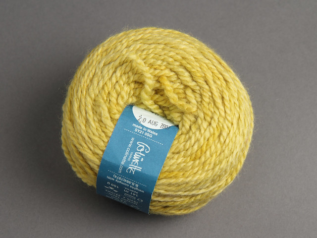 Destash yarn: Colinette Iona hand dyed aran wool/silk/mohair blend 90g – 'Wasabi Squeeze' (yellow)