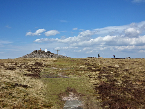Windy Gyle trig pillar and cairn