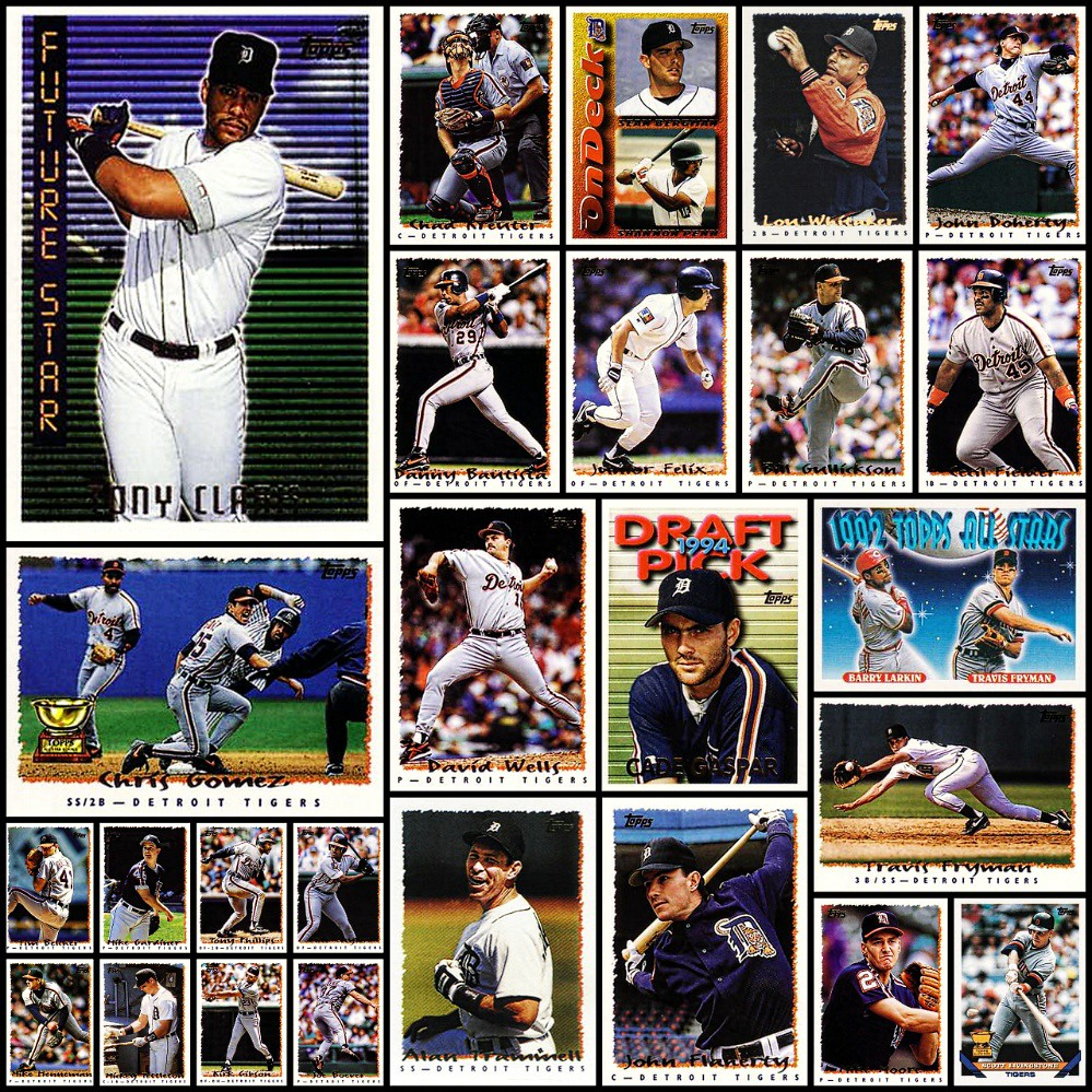 1995 Topps Detroit Tigers Topps Baseball Cards Collage