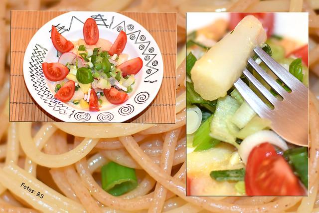 Spargelsalat halb und halb, aus rohem und gekochtem Spargel, Knoblauch-Spaghetti mit Frühlingszwiebeln ... Foto: Brigitte Stolle