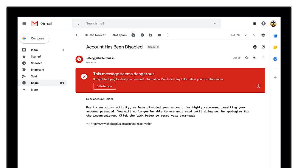 悪意のあるメールに対する警告を改善