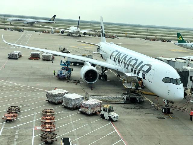 Avión de Finnair con el que volamos a China desde Madrid