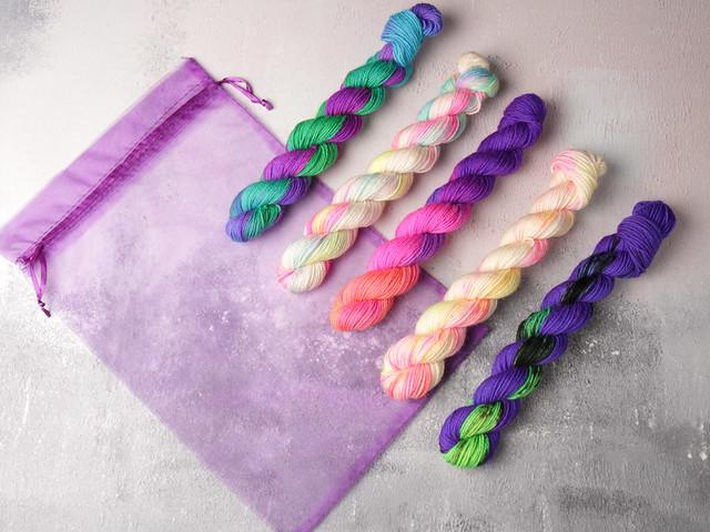 Hand-dyed sock mini skeins pure British superwash wool yarn pack 5 x 20g – 'Beyond Neon'