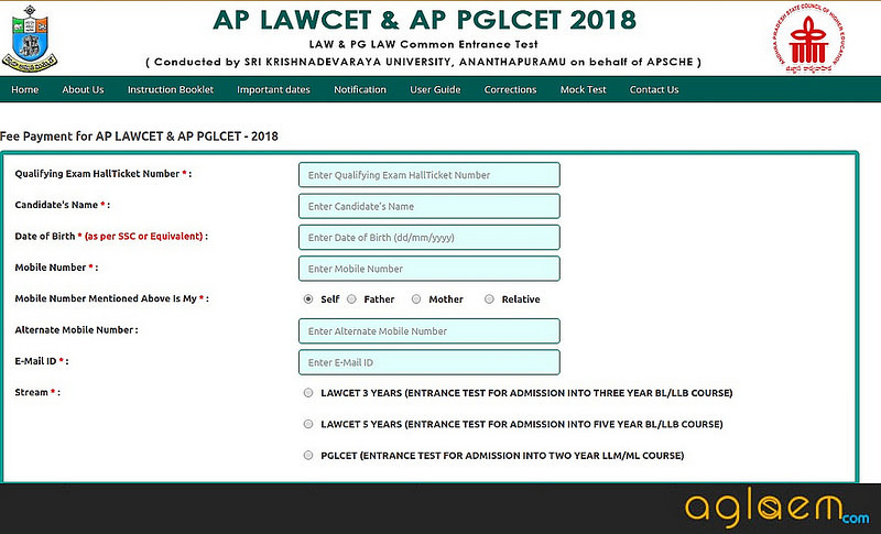 Application form AP PGLCET 2019