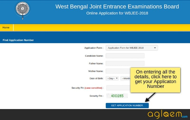WBJEE 2018 Application Number