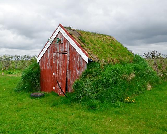 Granja islandesa cubierta de hierba
