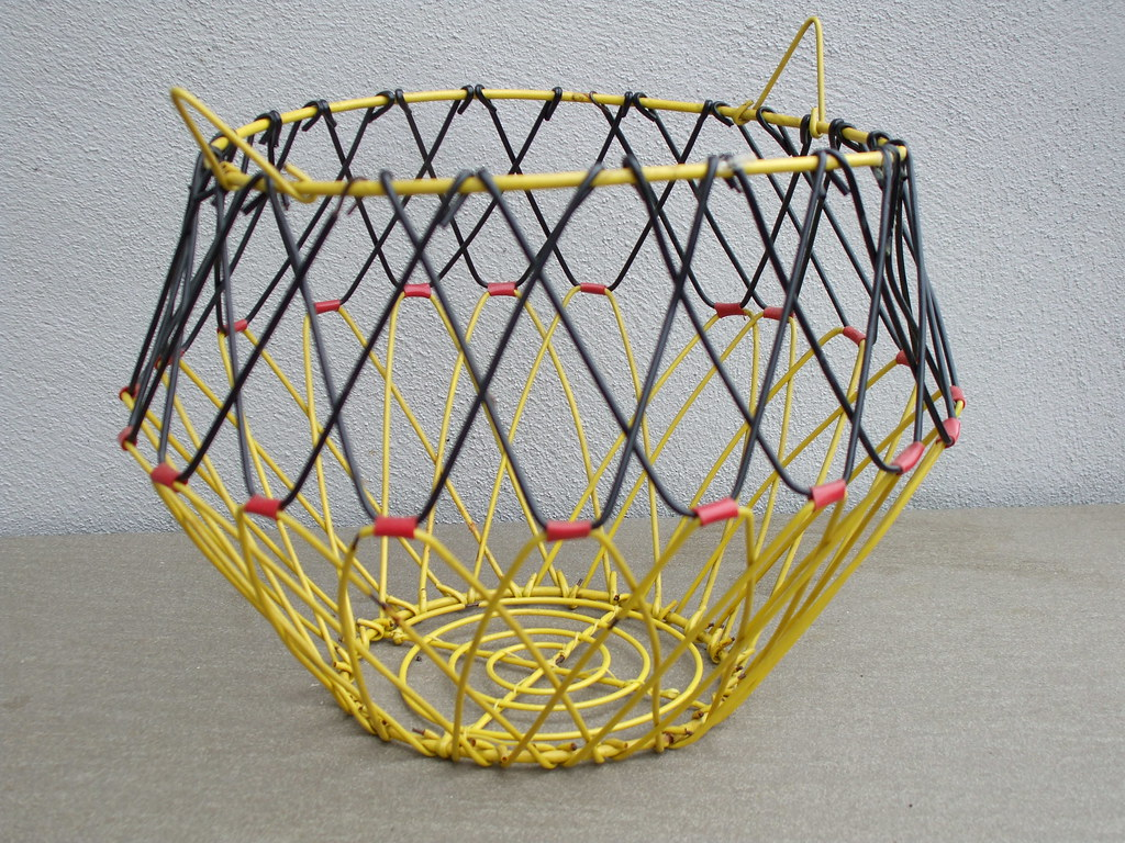 Vintage Yellow Black & Red French Wire Egg Basket Mid Cent…   Flickr