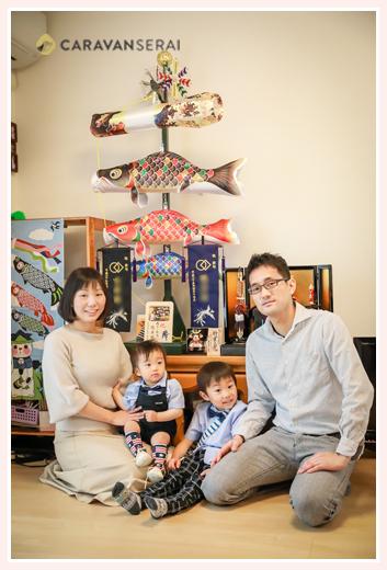自宅で初節句の家族写真(名古屋市西区)