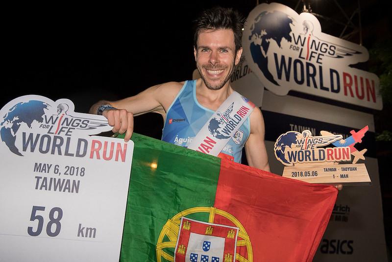 台灣賽道男子組冠軍,葡萄牙籍選手Luis Ricardo Beato Pereira。(Wings For Life全球路跑主辦單位提供)