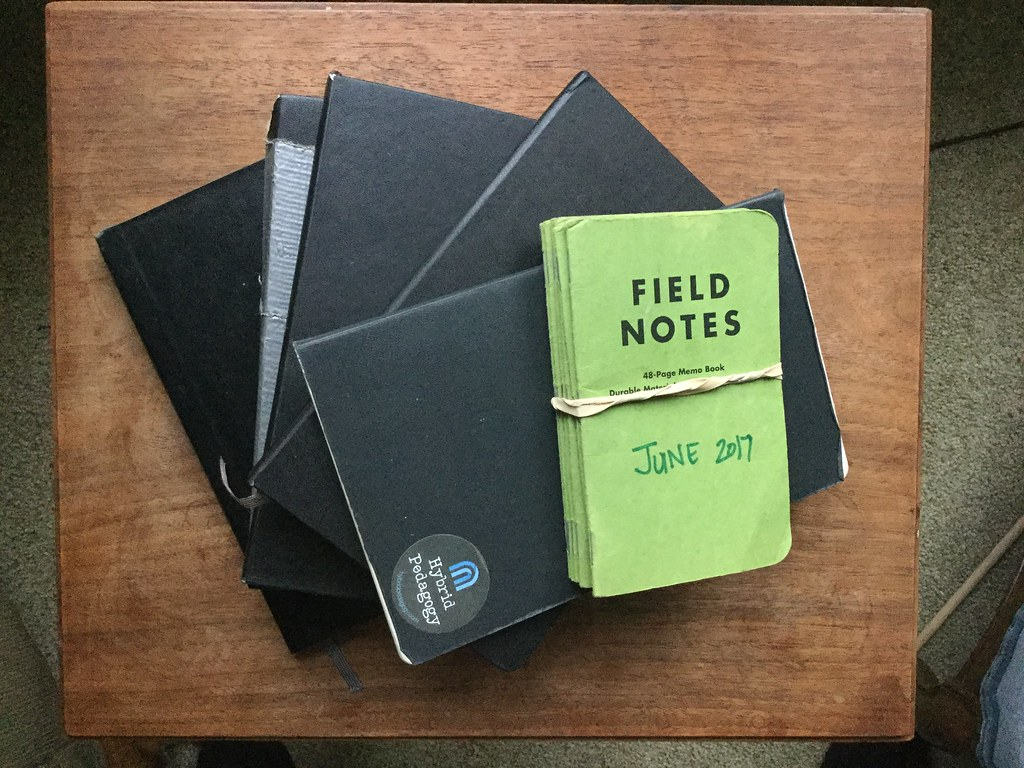 A stack of notebooks on a table